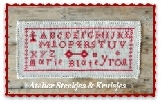 """S&K  reproductie merklap"""" Marie Blateyron"""""""