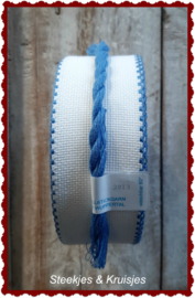 Borduurband Aida 50 mm breed met blauwe rand