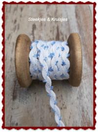 Bandje linnen zigzag met klein blauw lusje