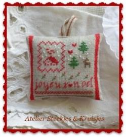 """S&K  """"Joyeux Noel op bandlinnen"""" patroon of pakketje"""