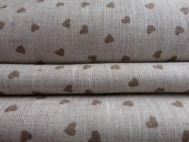 Coupon linnen stof met bruin hartje 40 x 150 cm