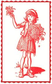 """Textiel transfer """"Meisje met bloemen rood"""", afm.  ± 6 x 8 cm"""