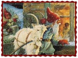 Textieltransfer kerstman met bokkewagen ± 6 x 8 cm
