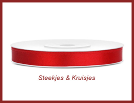 Rood satijnlint 6 mm breed
