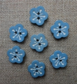 Bloemetjesknoop oud blauw met wit 12 mm