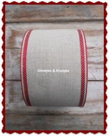 100 cm stitching band natural,  wide 100 mm,  with  bordeaux deco border
