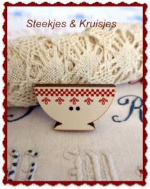 Knoop Coffee Bowl met rood geblokte rand