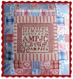 "S&K  reproductie merklap ""AMPJC"" patroon"
