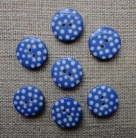 Midden blauwe knoop met witte stip