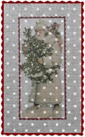 Transfer kerstman met boom en zak stipstof  ± 9 x 13 cm