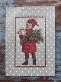 Transfer jongetje met rood jasje en muts stipstof  ± 9 x 13 cm
