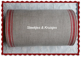 200 cm stitching band, wide 170 mm in natural with red striped border