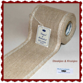 100 cm stitching band, wide 100 mm in natural  with white jacquard border