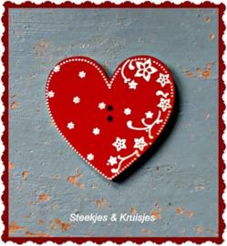 Knoop rood houten hart met bloemen