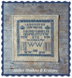 "S&K  reproductie merklap ""WW 1881"" patroon of pakketje"