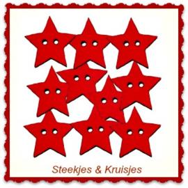 Knoop houten sterretje rood