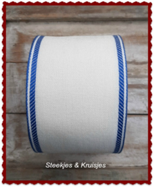 100 cm stitching band antique white,  wide 100 mm,  with  blue deco border