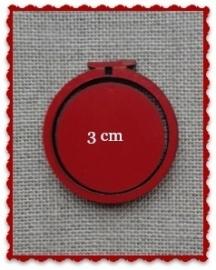 Borduurringetje mini 3 cm rood