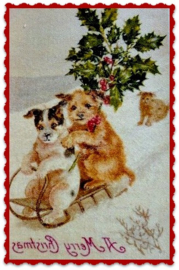 Textieltransfer  twee hondjes op slee   ± 6 x 8 cm