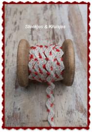 Bandje linnen zigzag met klein rood lusje