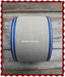 100 cm stitching band natural,  wide 100 mm,  with  blue deco border