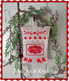"""S & K  """"Bouton Joyeux Noel"""" borduurpatroon en knoop"""