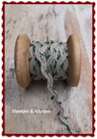 Bandje linnen zigzag met klein groen lusje