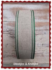 Vaupel linnen band 40 mm met groene bies