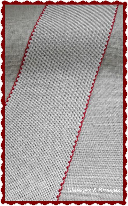 Borduurband Aida linnen-katoen 100 mm kleur natuur rode bies