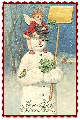 Textieltransfer sneeuwpop ± 6 x 8 cm