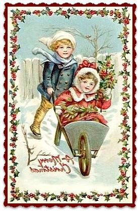 Textieltransfer jongetje en meisje kruiwagen  ± 6 x 8 cm