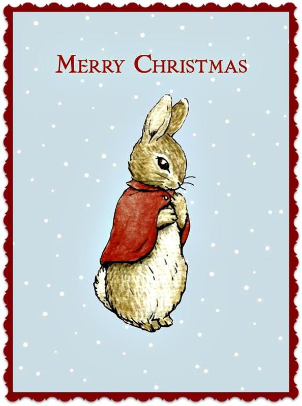 Textieltransfer Merry Christmas Peter Rabbit   ± 6 x 8 cm