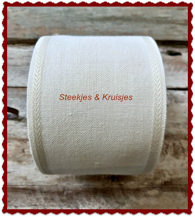 100 cm stitching band, wide 100 mm  in antique white with deco border