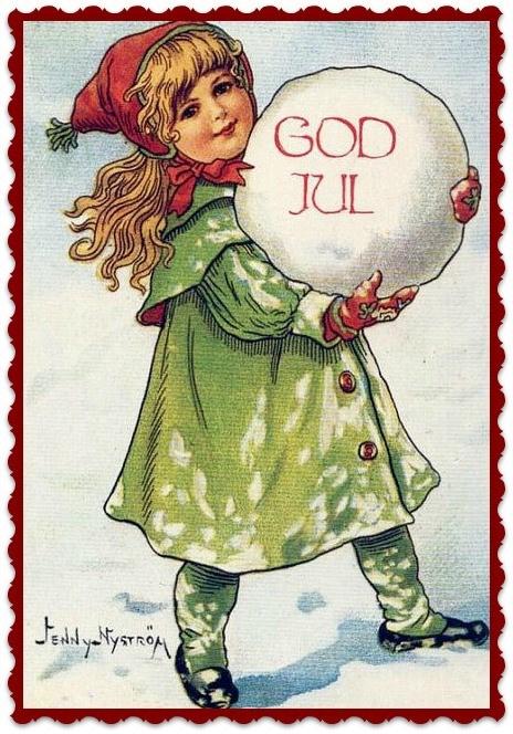 Textieltransfer meisje God Jul ± 6 x 8 cm