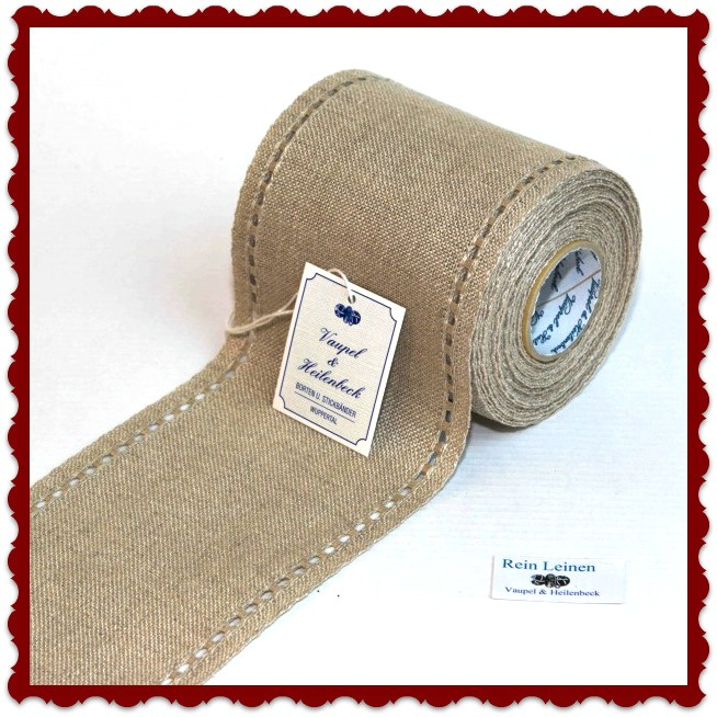 100 cm stitching band, wide 100 mm in  natural with open border