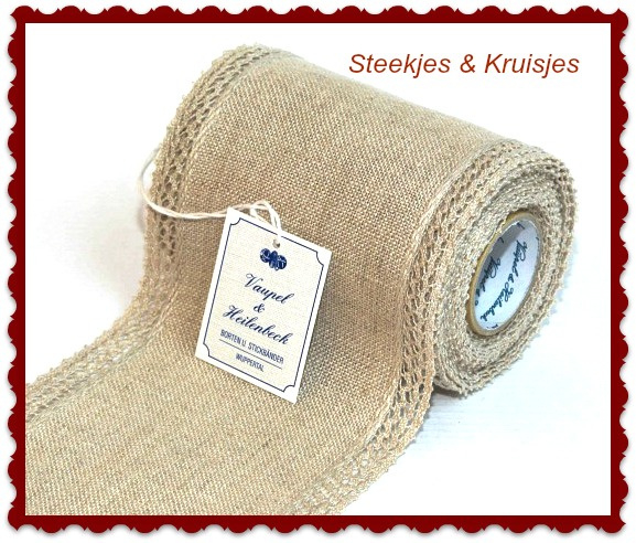 Lace Edged linen banding 100 mm nature