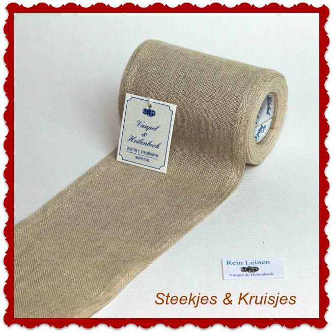 100 cm stitching band, wide 100 mm in natural with jacquard border