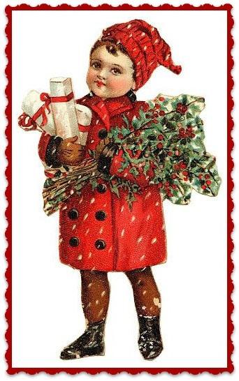 Textieltransfer jongetje met rood jasje en muts ± 6 x 8 cm