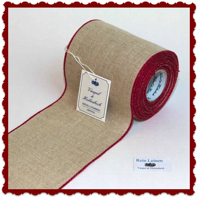 Linen banding  100 mm  in nature with small red edge