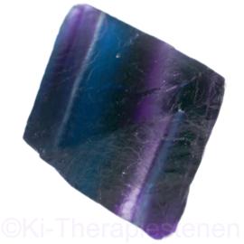 Fluoriet,  regenboog Jumbo oktaeder ø 4 cm blauw-paars 1x uniek ex.