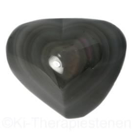 Obsidiaan, Regenboog Hart 5 cm 1x uniek ex.
