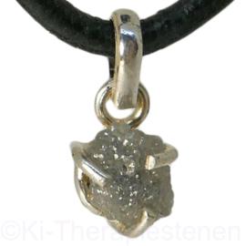 Diamant (Natuur)  hanger in  (925) in  zilver p.st.