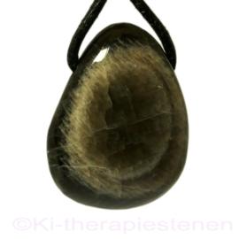 Maansteen, Zwart hanger Groot geboord 1x Uniek