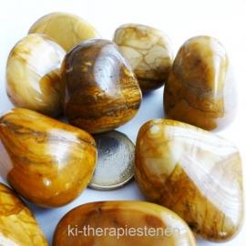 Jaspis: Gele jaspis  trommelsteen (XL) per st.