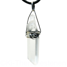 Bergkristal, laserpunt in rvs met 925 zilveren oog