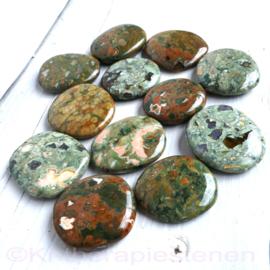 Jaspis, Regenwoud Jaspis, Rhyoliet,   platte edelsteen p.st.*