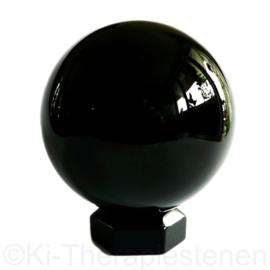 Obsidiaan zwart Bol Groot ø 10 cm + Obs.standaard