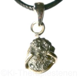 Diamant (Natuur) groot  hanger in  (925) in  zilver 1x uniek ex.