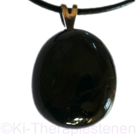 Toermalijn, zwart  schorl edelsteen hanger p.st.