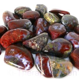 """Agaat: Mosagaat, bont, """"Red Lightning Agate""""  trommelsteen (XL) per st.*"""